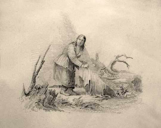 Graphite drawing of a Dakota woman processing a hide, c.1845. Drawing by Seth Eastman.