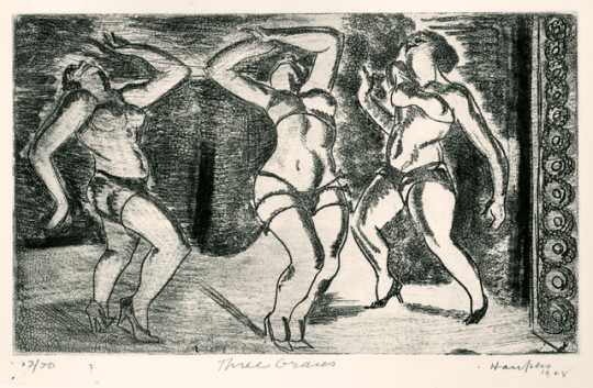 Three Graces, 1928. Drypoint etching on paper by Clement Haupers.