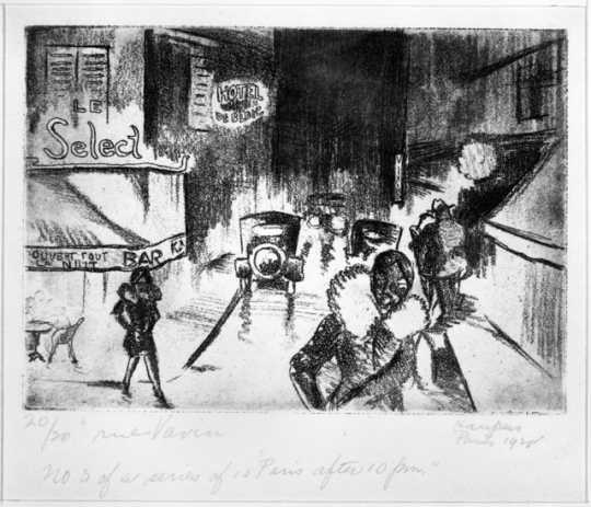 Rue Vavin, 1928. Drypoint etching on paper by Clement Haupers.