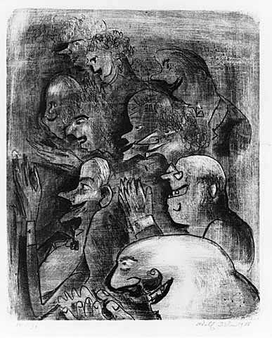 Applause, lithograph on paper by Adolf Dehn, 1926.