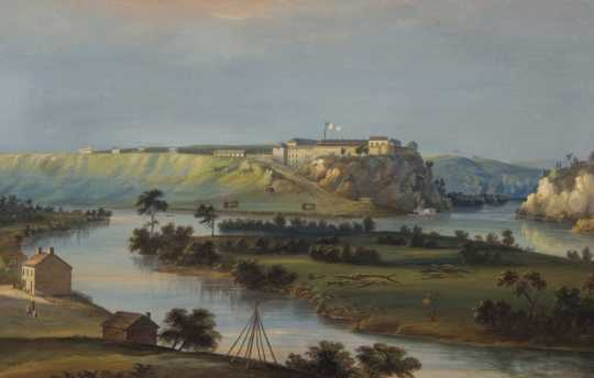 Watercolor painting of Fort Snelling, c.1844. Painting by John Casper Wild.