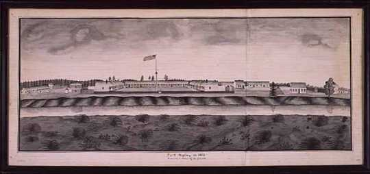 Fort Ripley, 1862. Pen and wash drawing made in 1864 by Corporal August Harfeldt, Third Battery, Minnesota Light Artillery.