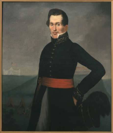 Oil-on-canvas portrait of Indian Agent Lawrence Taliaferro painted c.1830. Artist unknown.
