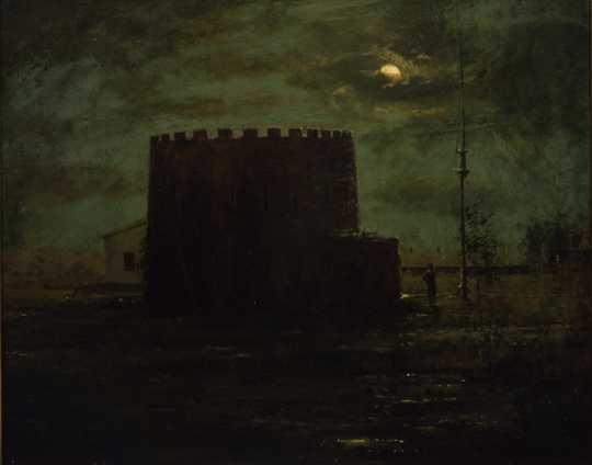Oil painting of Round Tower by moonlight, c.1888.