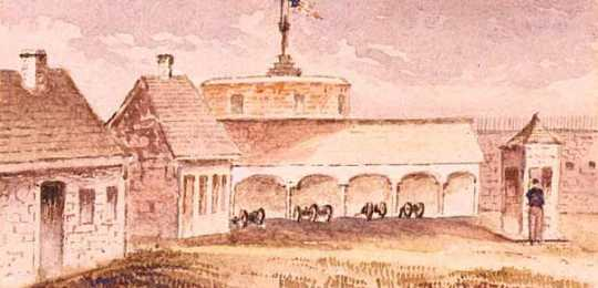 Watercolor painting of the interior of Fort Snelling, c.1853. Painting by George F. Fuller.