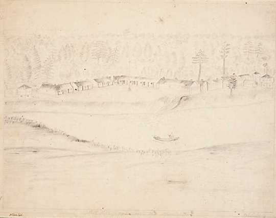 Graphite drawing of Fort Ripley from east the Mississippi, 1863. Drawing by Jonathan Burnett Salisbury.
