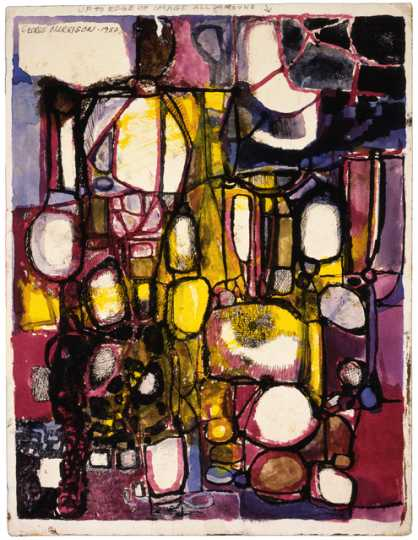 Color image of Abstract Composition watercolor painting by George Morrison, 1950.