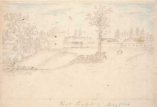 Graphite Drawing of Fort Ripley, 1863. Drawing by Jonathan Burnett Salisbury.