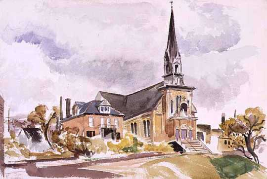 Water color painting of Our Lady of Lourdes Church, 27 Prince Street, Minneapolis, 1948.