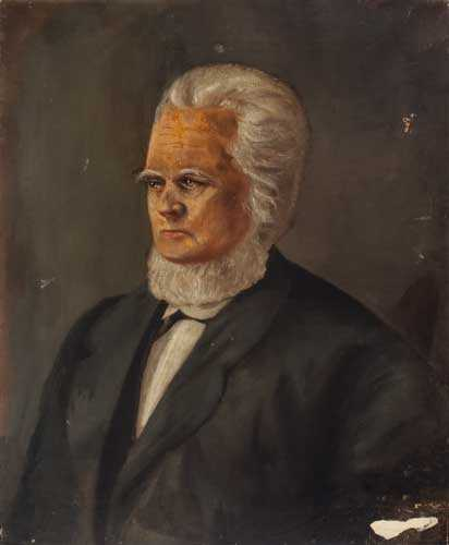 Oil on canvas color painting of Rev. Alfred Brunson c.1830.
