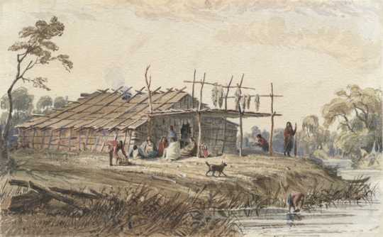Color image of a Dakota summer lodge, ca. 1846–1848. Watercolor painting by Seth Eastman.