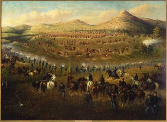 Oil painting done by Carl L. Boeckmann in 1910 depicting the Battle of Killdeer Mountain on July 28, 1864.
