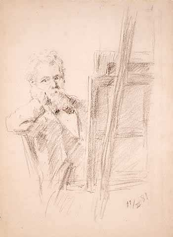 """Self Portrait Behind an Easel,"" 1881. Charcoal on paper by Robert Koehler."