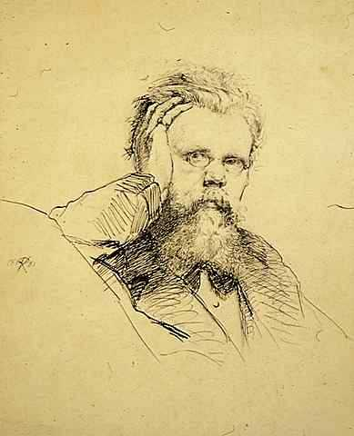 """Self Portrait,"" 1881. Pen and ink on paper by Robert Koehler."