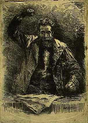 """The Socialist,"" 1885. Etching on paper by Robert Koehler."