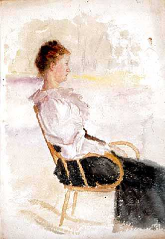 """Woman in a Rocking Chair,"" c.1885. Watercolor on paper by Robert Koehler."