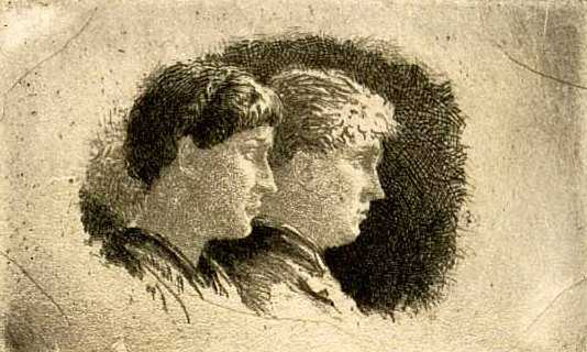 """Two Figures in Profile,"" c.1885. Etching by Robert Koehler."