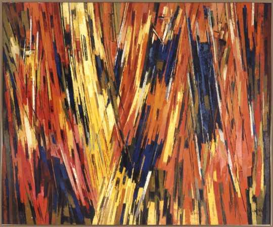 """Kinetic Rhapsody,"" oil-on-canvas painting by Elof Wedin, 1962."