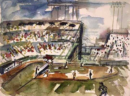 View of Metropolitan Stadium in Bloomington. A baseball game is being played on the field. Artist: Hazel Thorson Stoeckeler, 1964.