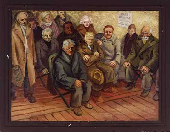 Color image of The Meeting, 1937. Oil on canvas by Syd Fossum.