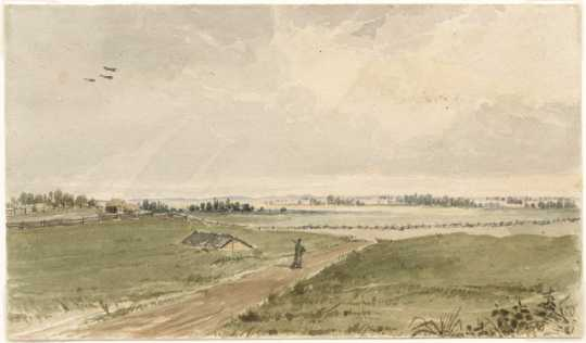 Painting of the prairie just beyond the north side of Fort Snelling, ca.1847. Painting by Seth Eastman.
