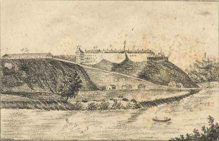 A Sketch by Seth Eastman of Fort Snelling in the year James Thompson married Marpiyawecasta, 1833.