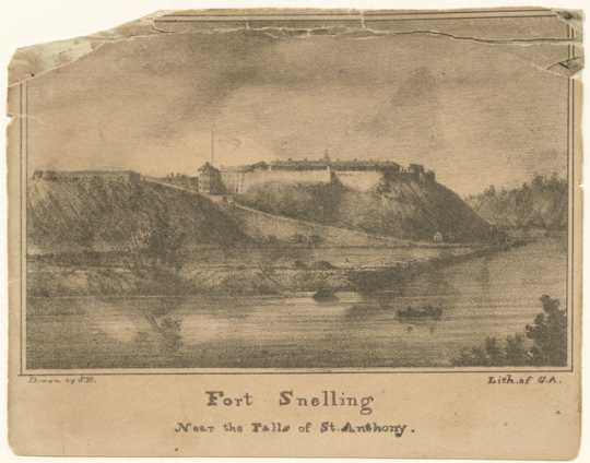 Lithograph of Fort Snelling made by Seth Eastman in 1833, three years before Dred Scott was brought to the post by his owner, George Emerson.