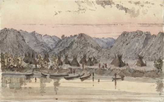 Watercolor on paper depicting Chief Wabasha's village on the Mississippi River. Painted c.1845 by Seth Eastman.