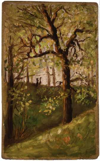 """Anton Gág's """"Woods with Two Girls in Distance"""" ca. 1890"""