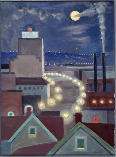 View of Kellogg Blvd. From My Window, 1956. Oil on board by Clement Haupers.