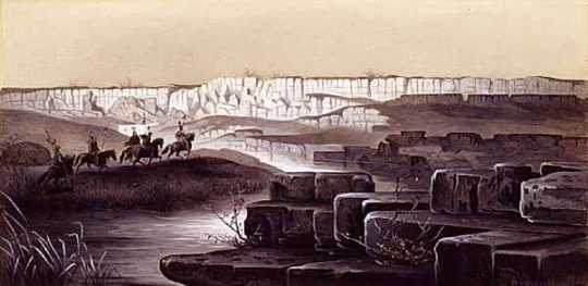 The red Pipestone Quarry in Southwestern Minnesota. Pen and ink drawing of Rudolf Daniel Ludwig Cronau, 1881.