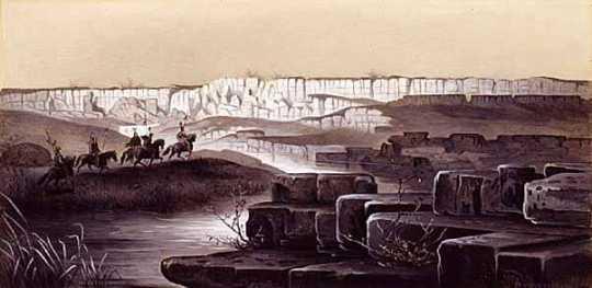 The red Pipestone Quarry in Southwestern Minnesota. Pen and ink drawing of Rudolf Daniel Ludwig Cronau, 1881.