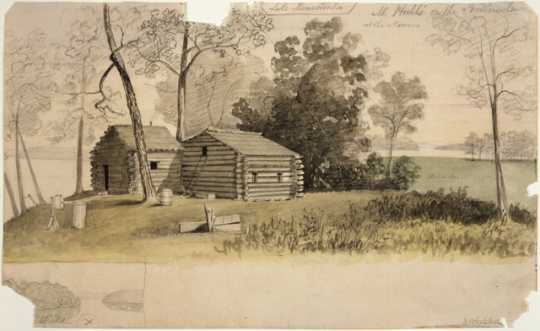 Watercolor painting of Lake Minnetonka as it appeared when Joseph Israel Lobdell guarded a claim there in late 1856. By Edwin Whitefield, ca. 1856–1859.