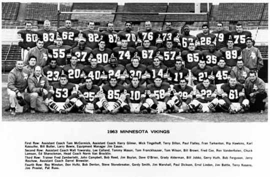Black and white photograph of the Minnesota Vikings team, 1963.