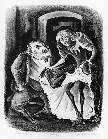 Babette, lithograph on paper by Adolf Dehn, 1945.