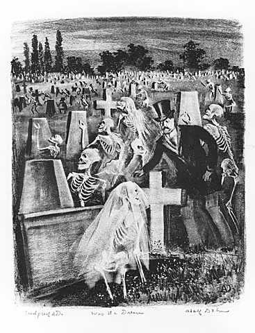 Was it a Dream, lithograph on paper by Adolf Dehn, 1945.