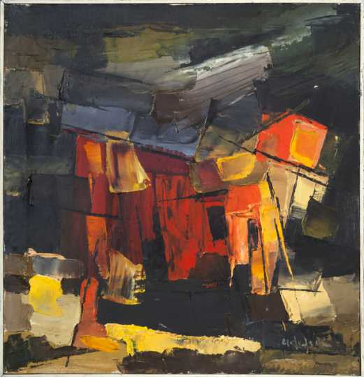 """""""Boats and Fish Houses,"""" oil-on-canvas painting by Elof Wedin, 1963–1967."""