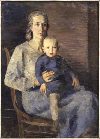 """""""Wife and Son,"""" oil-on-canvas painting by Elof Wedin, 1935."""