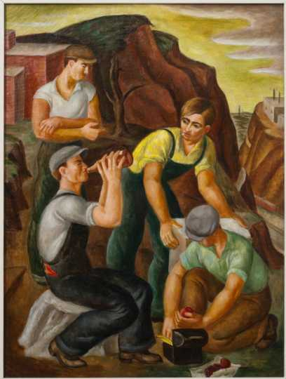 Color image of Workers, c.1934–1941. Oil on canvas by Dorothea Lau.