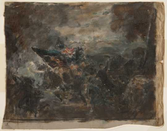 Oil-on-canvas study created by Douglas Volk for his painting Second Minnesota Regiment at Mission Ridge, c.1905.