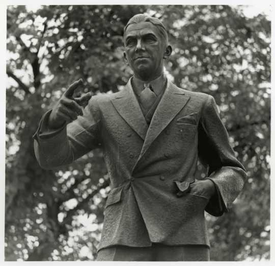 Black and white photograph of Floyd B. Olson statue, c.1965.