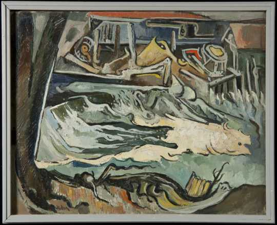 """""""Upper Lakes Dam and Spillway,"""" oil-on-canvas painting by Elof Wedin, 1967."""