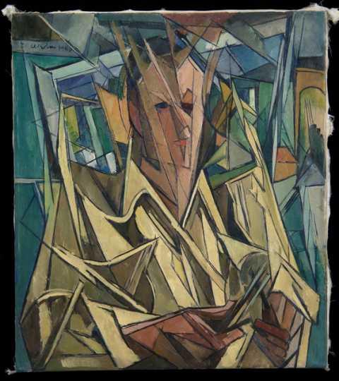 """Self Portrait,"" oil-on-canvas painting by Elof Wedin, 1950."""