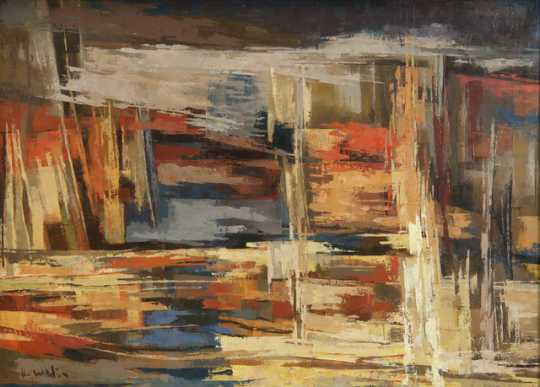 """""""Summer Landscape,"""" oil-on-canvas painting by Elof Wedin, 1967."""