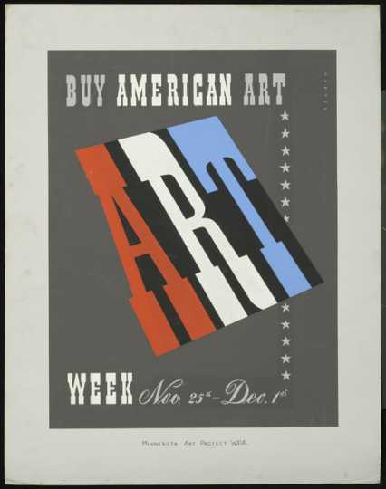 Color image of Buy American Art, 1940. Screen print on paper by Joseph Binder.