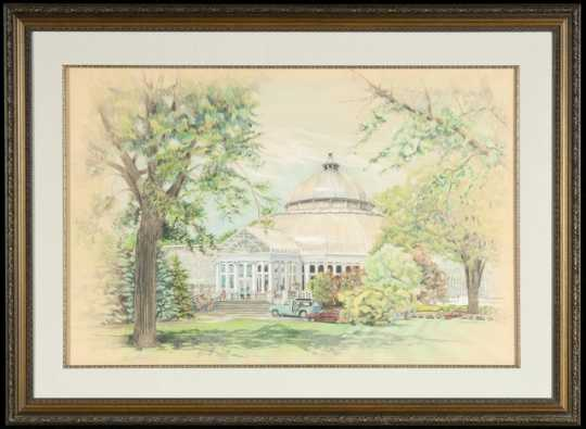 Color pencil drawing of the conservatory by Virginia M. Polster, 1991.