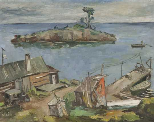 """""""Beaver Bay,"""" oil-on-canvas painting by Elof Wedin, 1948."""