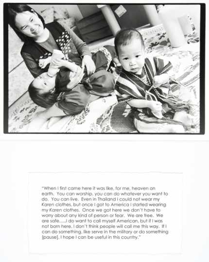 "Black and white photograph of a woman sitting on the floor with two young children, with accompanying quote, by Jane Kramer, 2004. From collection, ""Photographs and Stories of Refugee Women: Perseverance, Dignity, Strength, Hope, and Peace."""