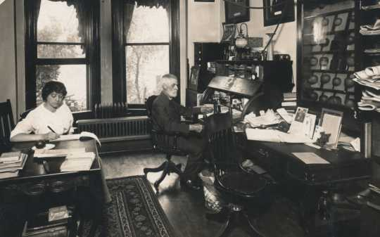 Black and white photograph of A. W. Latham, first executive secretary of the Minnesota State Horticultural Society, 207 Kasota Block, Minneapolis,1901.