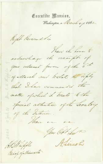 Scan of a letter from Abraham Lincoln to Henry B. Whipple, March 27, 1862.